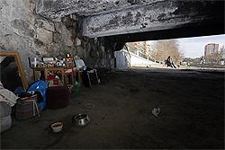 Parte inferior del puente de la Reina, donde vivía Raquel, la persona que se ve al fondo. / KIKE PARA