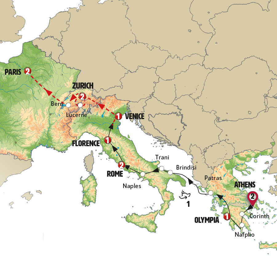 Greece italy switzerland and paris europamundo vacations mapa del circuito gumiabroncs Gallery