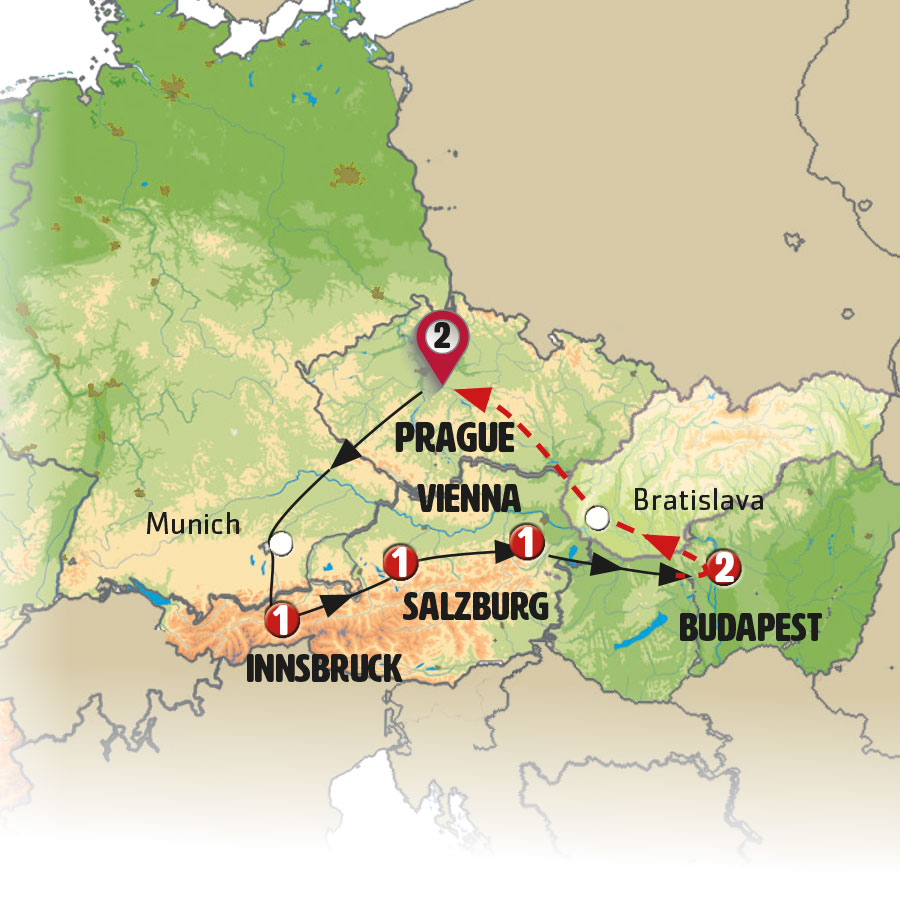 Praga Y Budapest Mapa.Eastern Whispers Europamundo Vacations