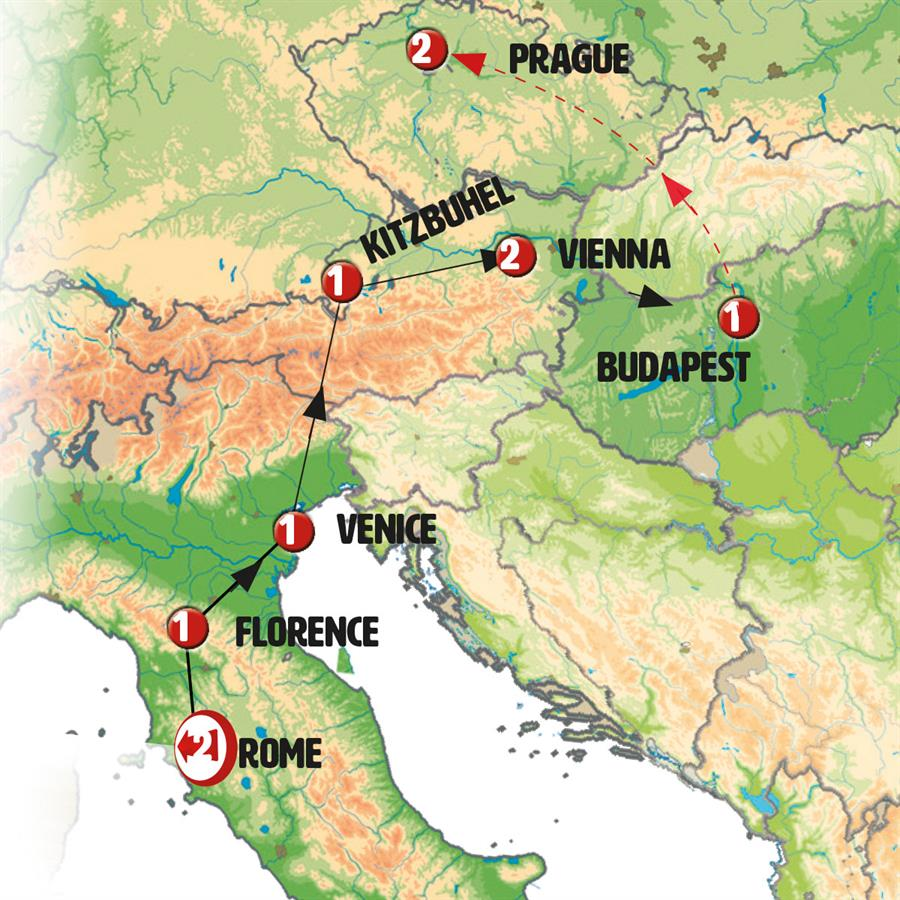 Essential Italy and Austria end Budapest - Map