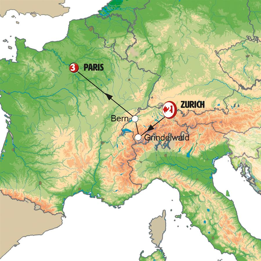 From Zurich to Paris - Map